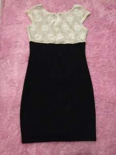 Dress brukat warna gading two tone
