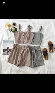 2-piece Set. Plaid button down top and bottom