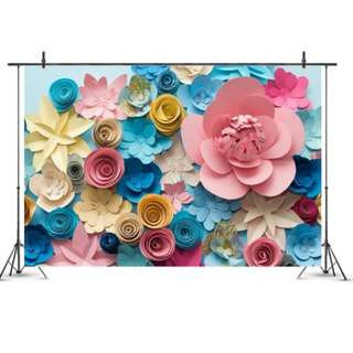 Paper Flowers Photobooth Backdrop