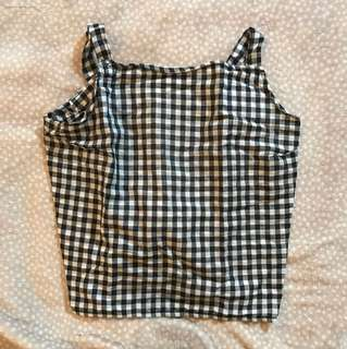 Handmade gingham crop top with cross back tie. Would fit size 8