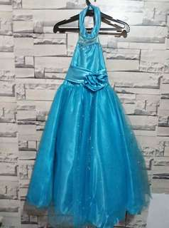 Blue gown haltered