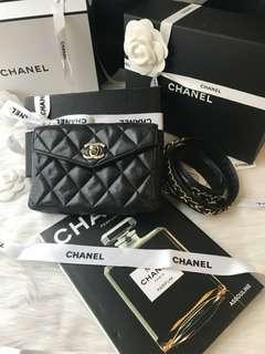 🔥🔥明星熱賣Vintage Chanel 黑色羊皮cc金扣腰包