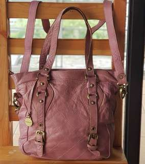 Authentic Rabeanco Medium Quilted Two-way Sling in Old Rose Genuine Leather