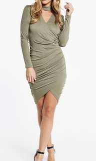 Bardot Khaki Collar Bodycon Dress