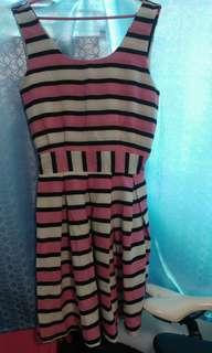White pink stripe dress