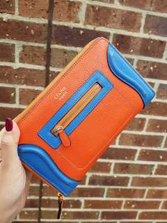 Ladies genuine leather wallet orange and blue