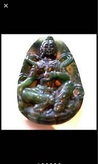 {FS138} 墨玉绿观音玉牌(Emerald Dark Jade Guan Yin Pendent)