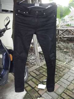 Naked & Famous Black Coated Denim