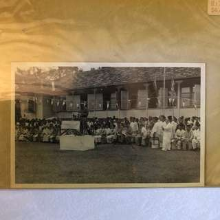Vintage Old Photo - old Black & White photograph showing many Malays in traditional dressings (13 by 9 cm)