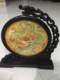 Chinese dragon brocade frame deco / gift