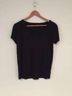 Topshop Black V Neck T-shirt