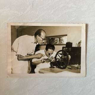 Vintage Old Photo - old Black & White photograph taken in year 1953 showing Hassan bin Tahir (left) (14 by 10cm)
