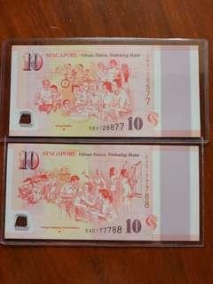 SG50 $10 7788, 8877 nice num pair
