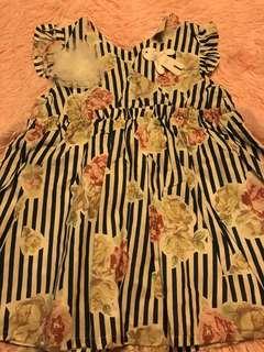 🚚 💠現貨全新女童直條花朵洋裝👗甜甜價💠