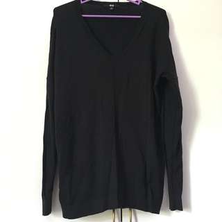 Uniqlo Black V Neck Top