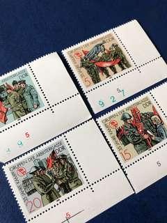 1988 德國工人戰爭隊35週年 郵票4全