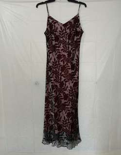DISU Maroon Floral Chiffon Cami Dress