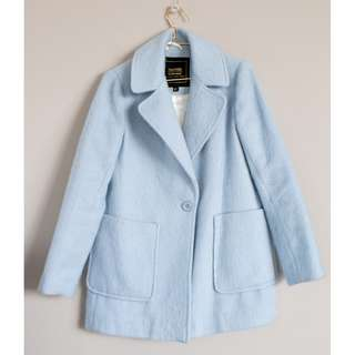 BOOHOO winter wool blend brushed look relaxed fit baby blue pastel coat 8