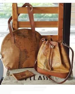 Authentic Alviero Martini Map Print Laminated PVC with Genuine Leather Trim Dome bag, small bucket and zip purse