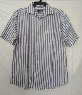 Authentic Siedensticker White Stripes Button Down Polo