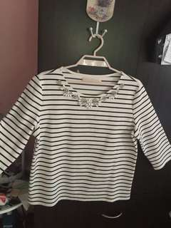 CLN 3/4 embellished top black and white stripes XL