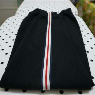 Men's Side Stripe Black Track Pants