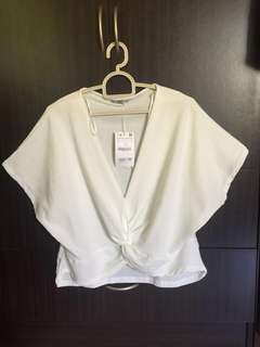 Zara Woman Tie knot Top white