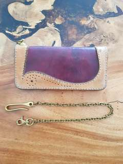 Genuine leather long wallet with brass concho