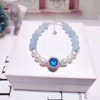 天然8mm海藍寶水晶+天然淡珍珠 配藍色貓眼琉璃