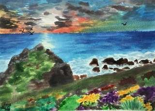 Beach Scene in Watercolors.