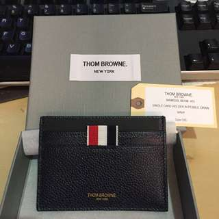 Thom Browne Single Card Holder in Pebble Grain Navy
