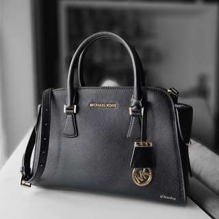 Authentic Michael Kors Harper Black Leather Satchel Bag