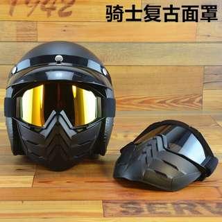 Shark inspired half face helmet with mask retro plain