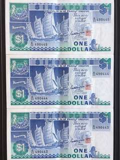 Singapore Ship Series $1 Running Numbers X3pc