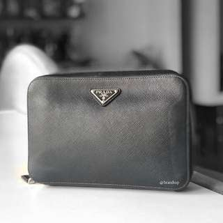 Authentic Prada Saffiano Men Clutch