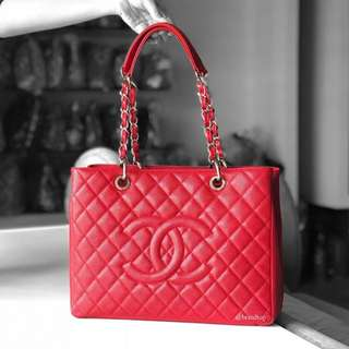 Authentic Chanel Red Caviar Grand Shopper Tote GST WSH