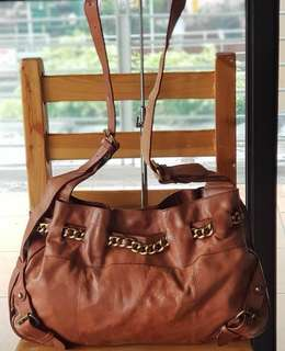 Authentic Salad Tan Large Sling with Adjustable strap, belted chain