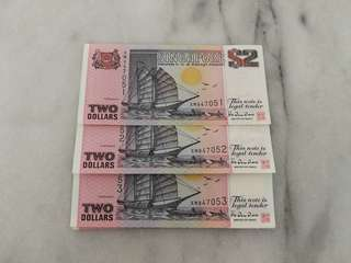 Singapore $2 running number purple Ship Series currency note(50 pcs)币