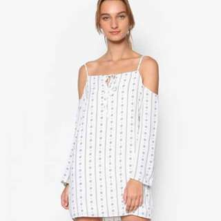 Something Borrowed White Printed Cold Shoulder Dress