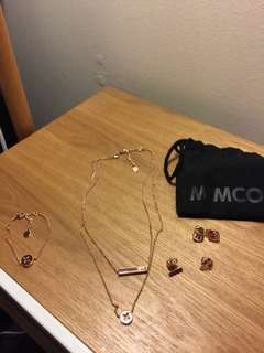 Mimco rose gold matching bracelet, necklace and earrings