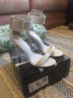 Zu White Patent Leather Heels