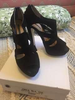 Tony Bianco black suede heels