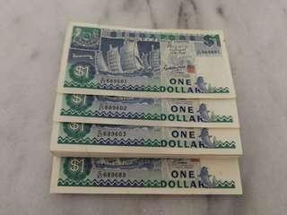 Singapore $1 running number ship series currency note (100 pcs)币