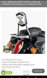 GIVI backrest for Honda Shadow 750