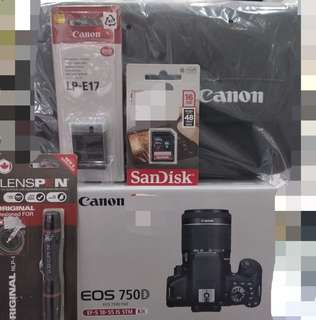 CANON EOS 750D WITH LENS 18-55 IS STM,100% ORIGINAL CANON MALAYSIA WARRANTY