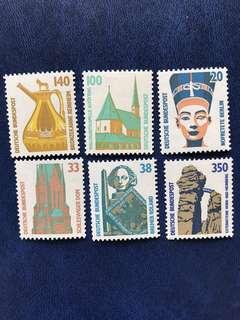 1989 德國名勝古蹟郵票 細票 6全