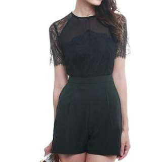 MDS Collections Black Lace Romper