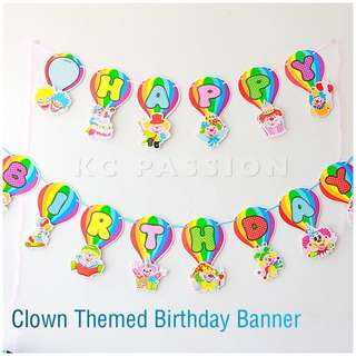 🤡 CLOWN THEME PARTY BIRTHDAY BANNER • BUNTING • FLAGS