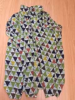 🚚 幾何團案帶花 襯衫 復古啊哥哥