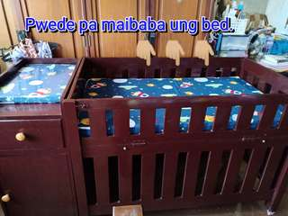 Baby wooden crib w/ cabinet